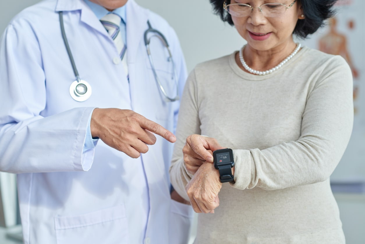 a patient adjusts her iot wearable