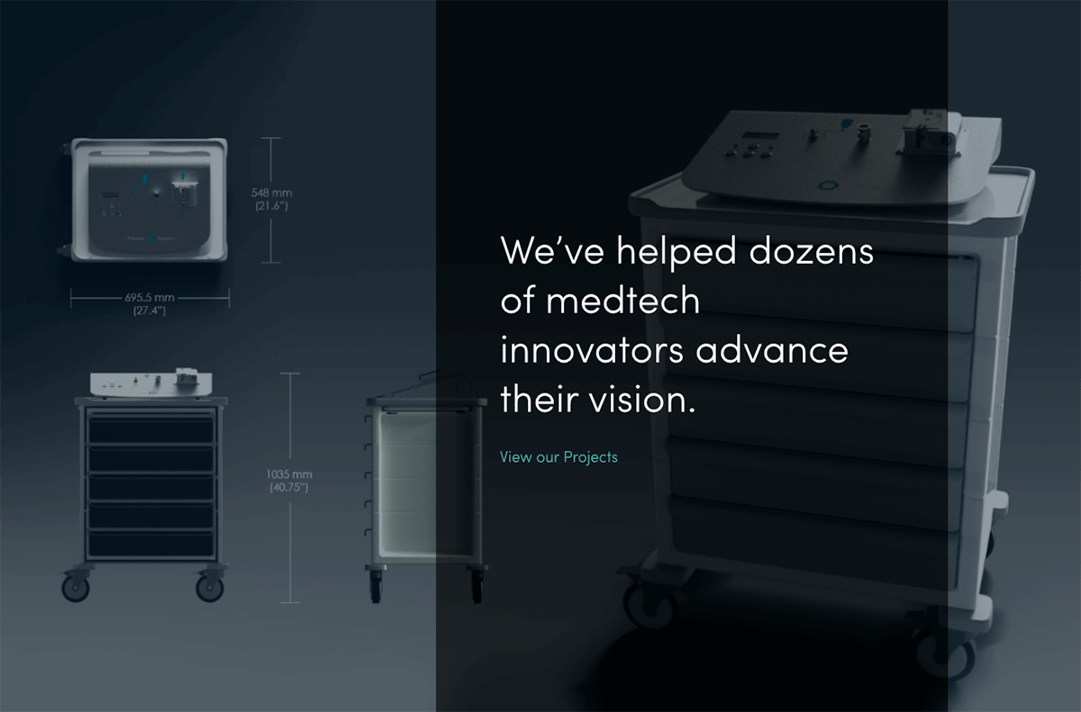 A screenshot of Alacrity Inc's homepage of medical device,product renderings