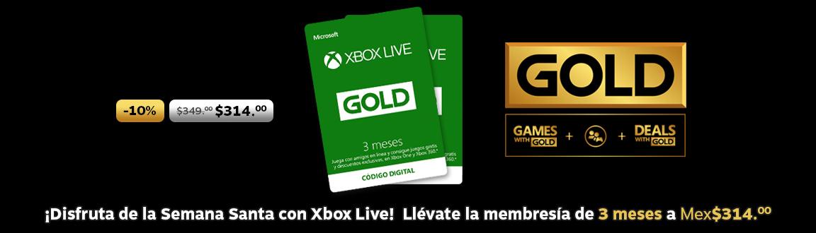 10% de descuento en Membresía Xbox Live Gold 3 meses!