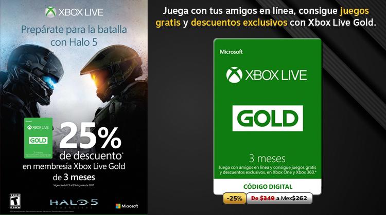 25% de descuento en Membresía 3 meses Xbox Live Gold!