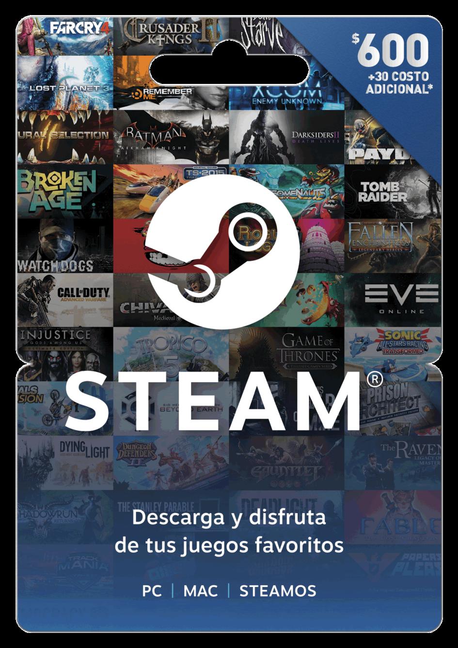 Tarjeta de regalo Steam $600 MXN
