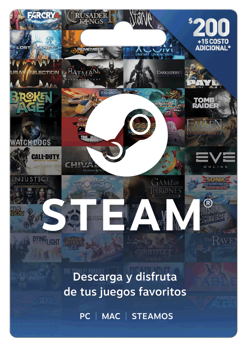 Tarjeta de regalo Steam $200 MXN