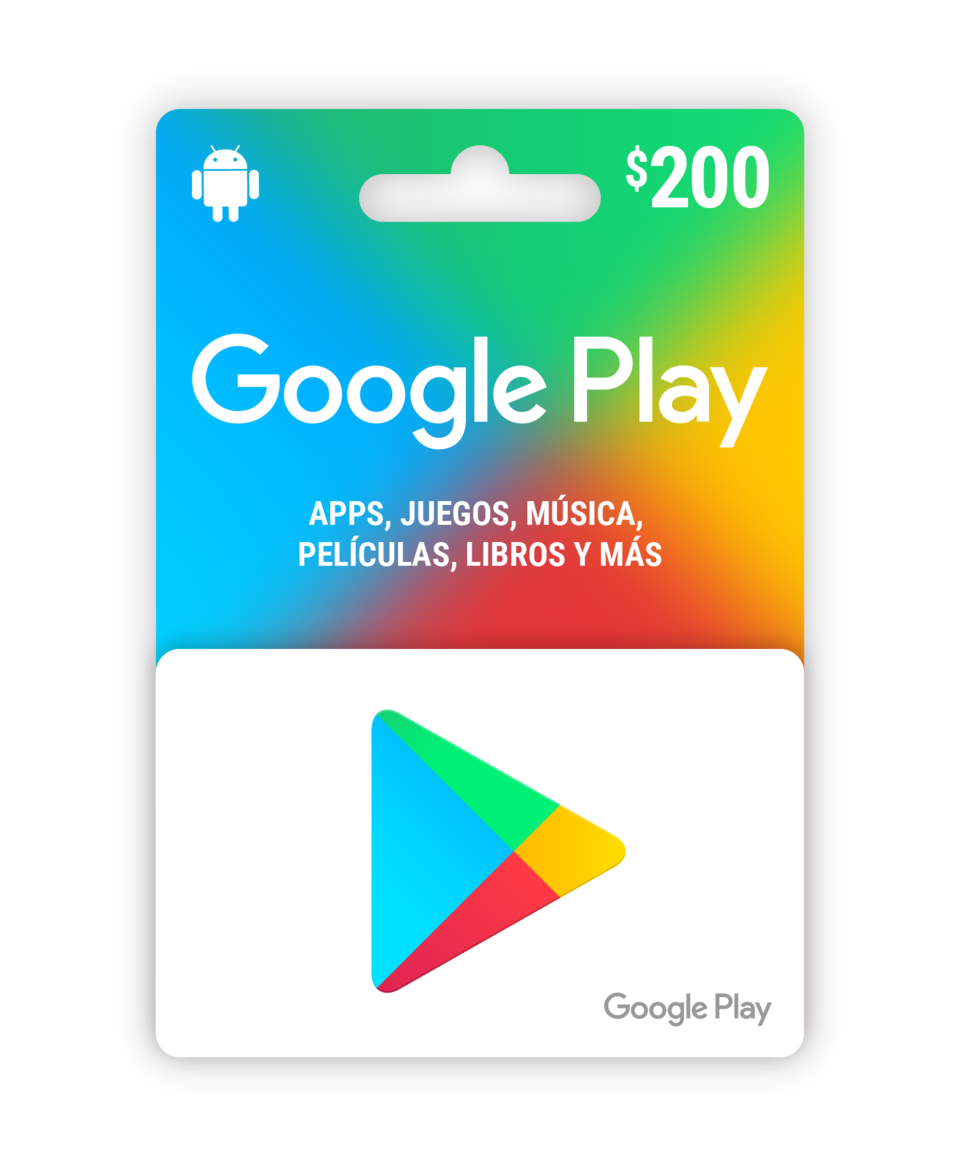 Saldo digital Google Play $200 MXN