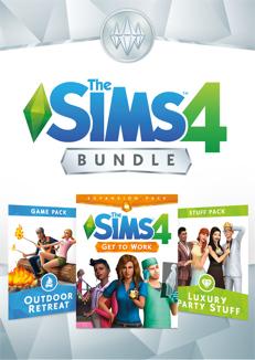 The Sims 4 Bundle - Get to Work, Outdoor Retreat, Luxury Party Stuff - Origin