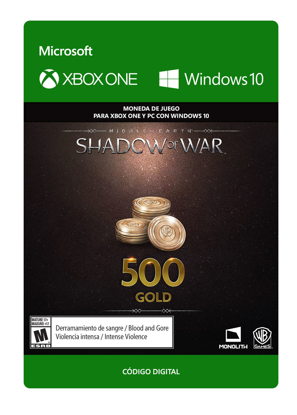 Middle Earth Shadow Of War 500 de Oro