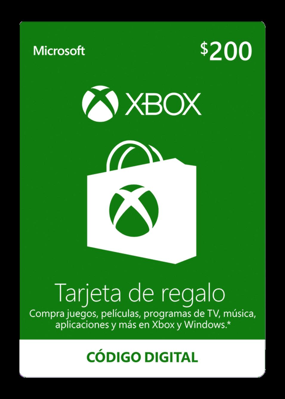 Tarjeta De Regalo Digital De Xbox Por Mxn$200