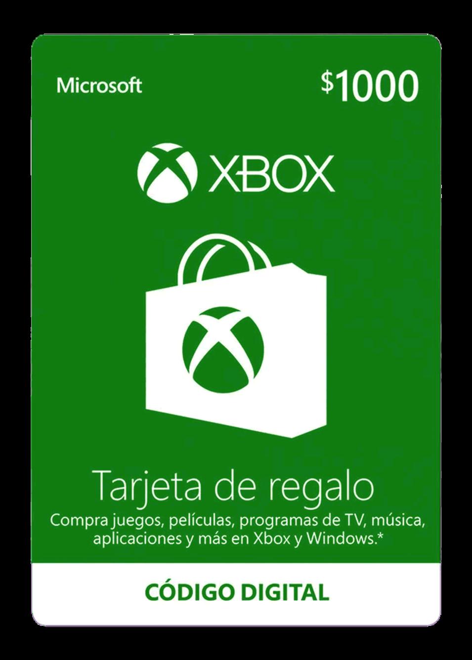 Tarjeta De Regalo Digital De Xbox Por $1000 MXN