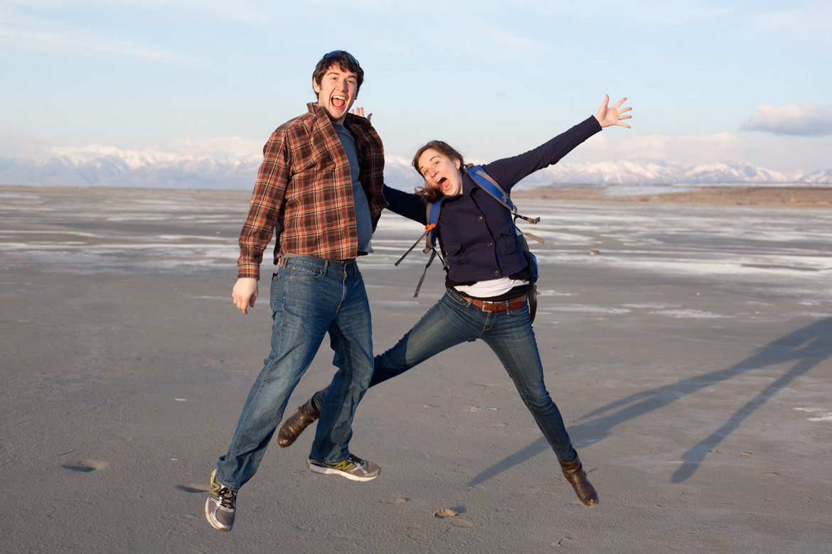 Clara and Josh jumping for joy on the shores of the Great Salt Lake in March 2013.