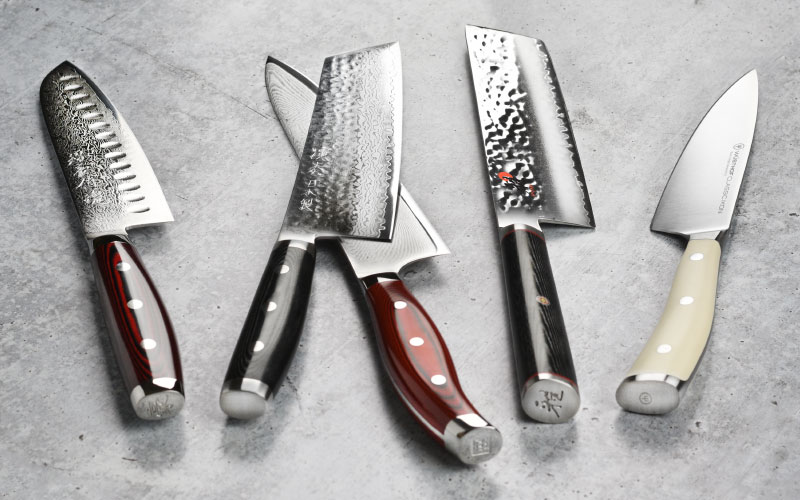 Cutlery and More Exclusives: Miyabi Mizu SG2 Nakiri Knife, Zwilling J.A. Henckels Twin Cermax MD67 Damascus Santoku Knife, Enso SG2 Bunka Knife, Shun Hiro SG2 Chef's Knife and Wusthof Classic Ikon Creme Chef's Knife