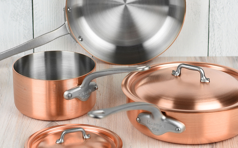 Mauviel M'hertiage 250S 5-Piece Brushed Copper Cookware Set