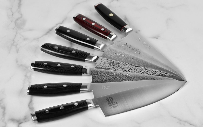 Yaxell Chef's Knives in Lines: Ypsilon, Super Gou, Ran Plus, Tsuchimon, Gou, Mon and Dragon