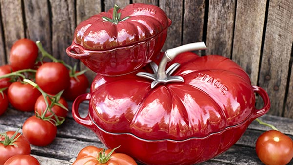 Unique Staub Cookware Pieces including Tomato and Pumpkin Cocottes