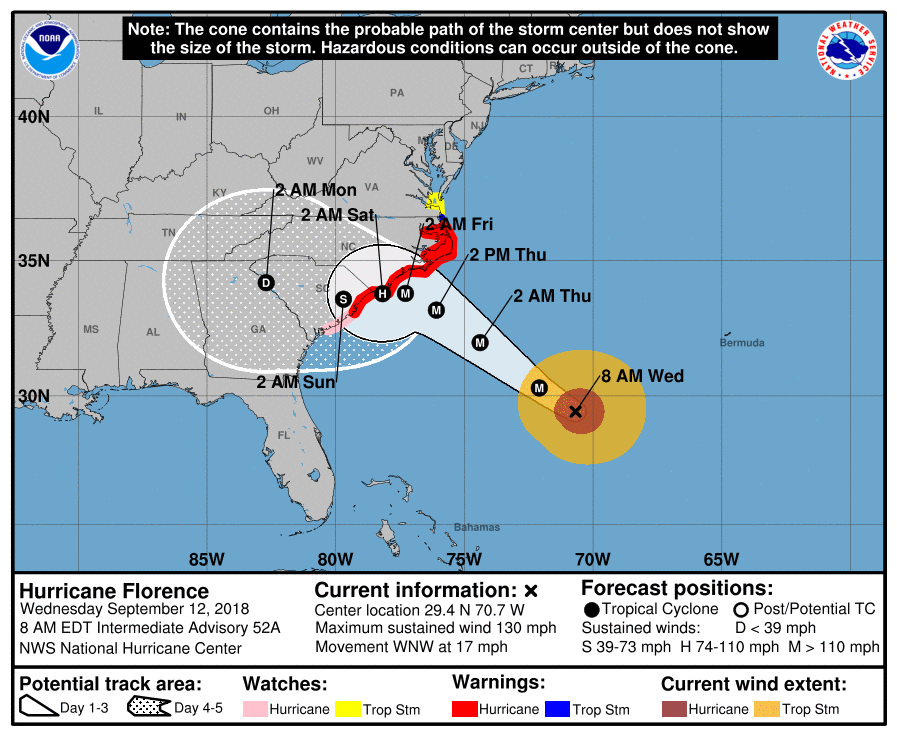 Hurricane Florence-weather map-Sept 12 2018