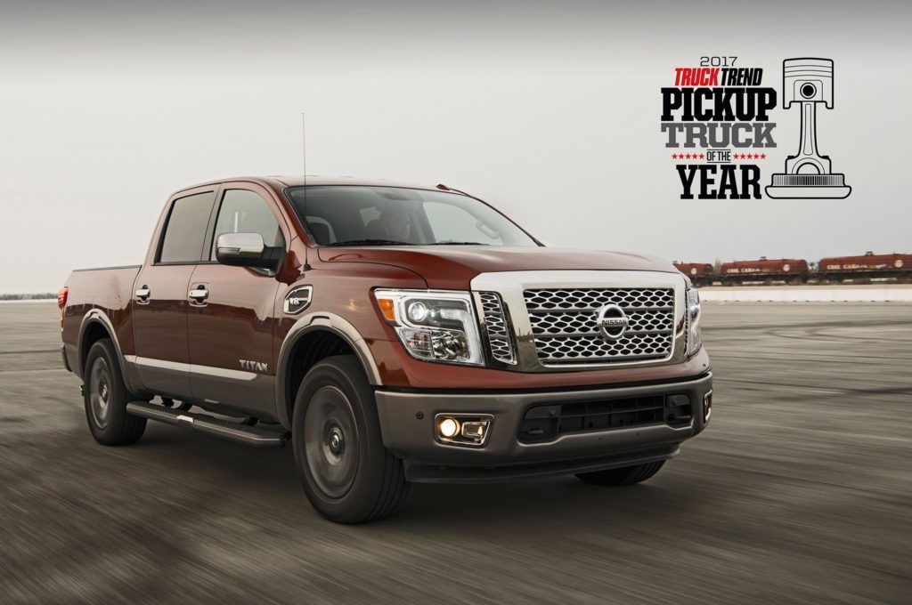 nissan titan wins truck trend 39 s 2017 pickup truck of the year award motor trend group. Black Bedroom Furniture Sets. Home Design Ideas