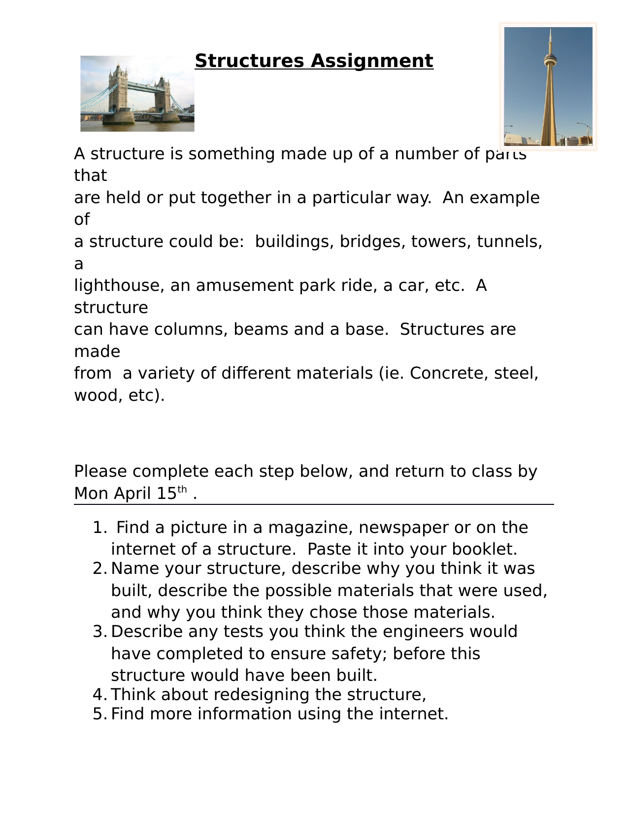 Structures Assignment Resource Preview