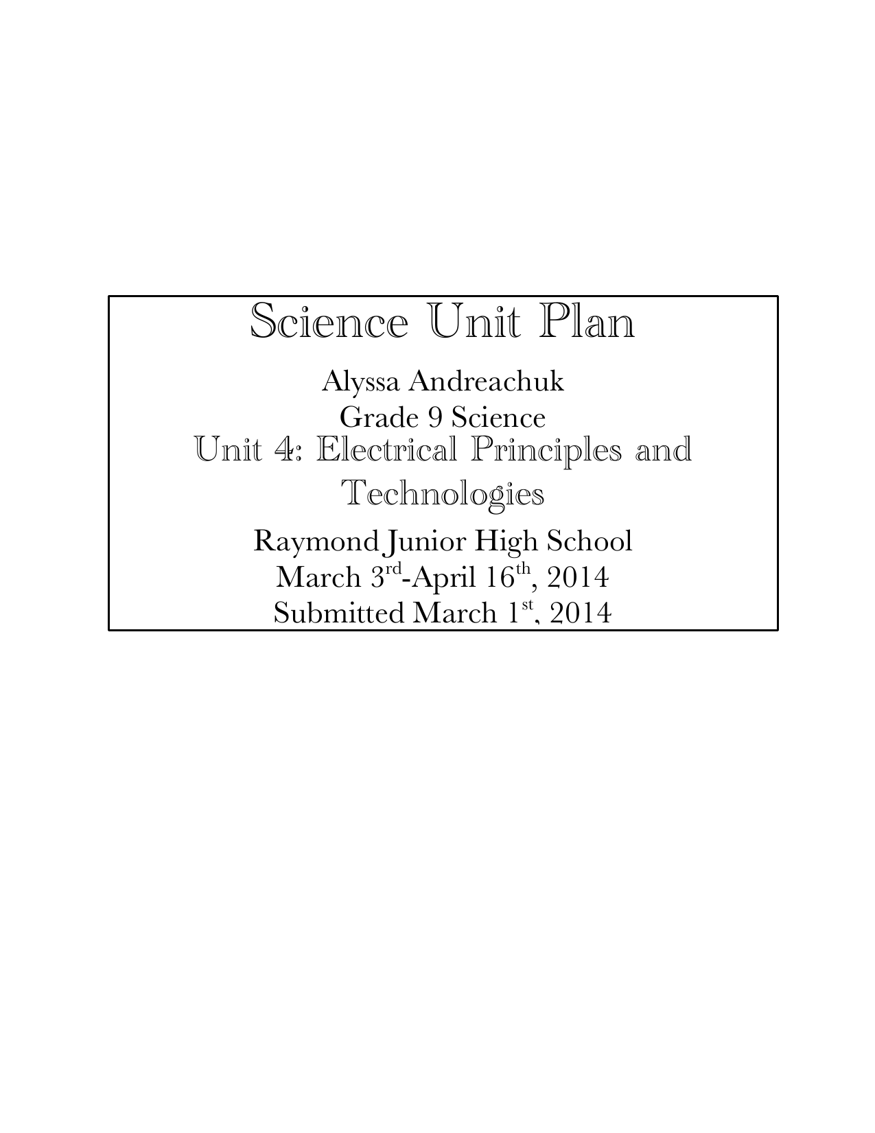 Grade 9 Electrical Principles and Technologies Unit Plan Resource Preview