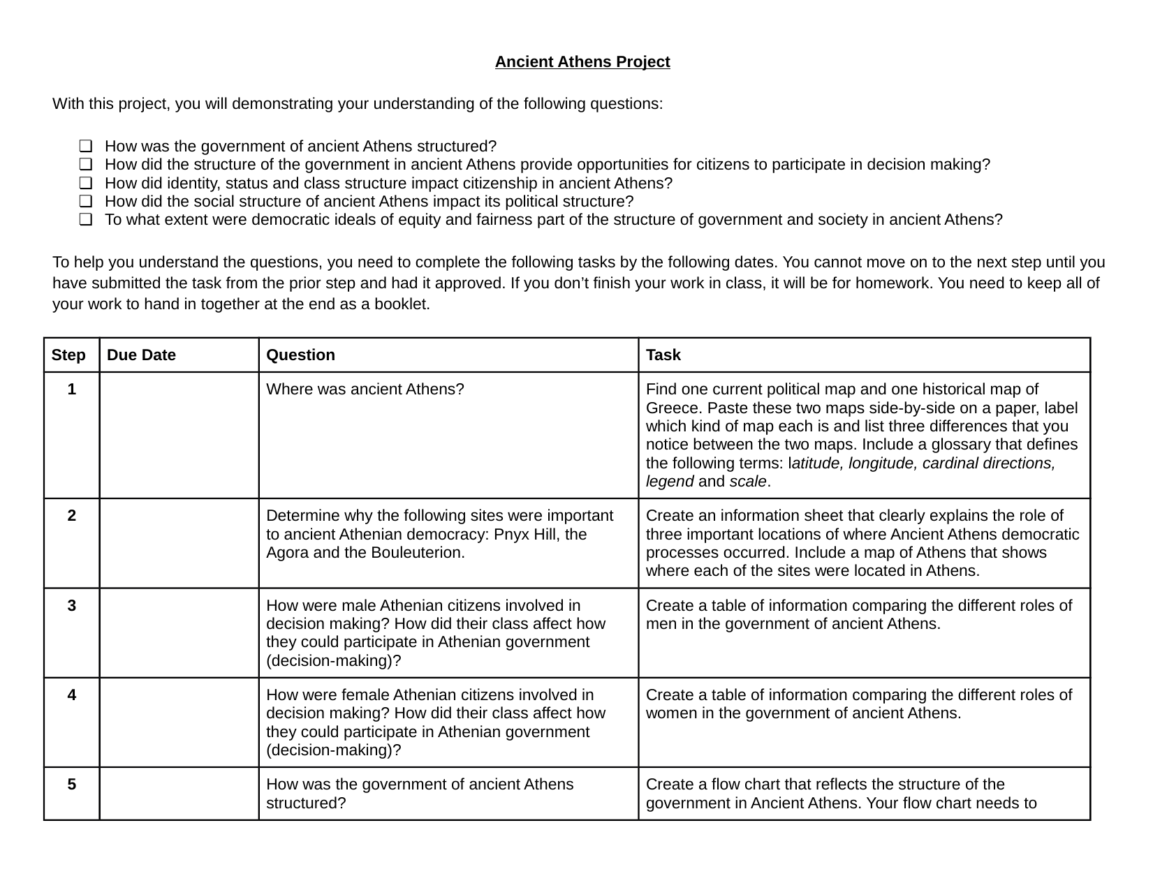 Ancient Athens PBL Resource Preview