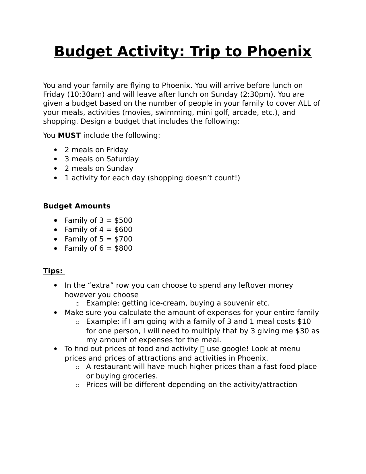 Grade 6 Budget Activity  Resource Preview