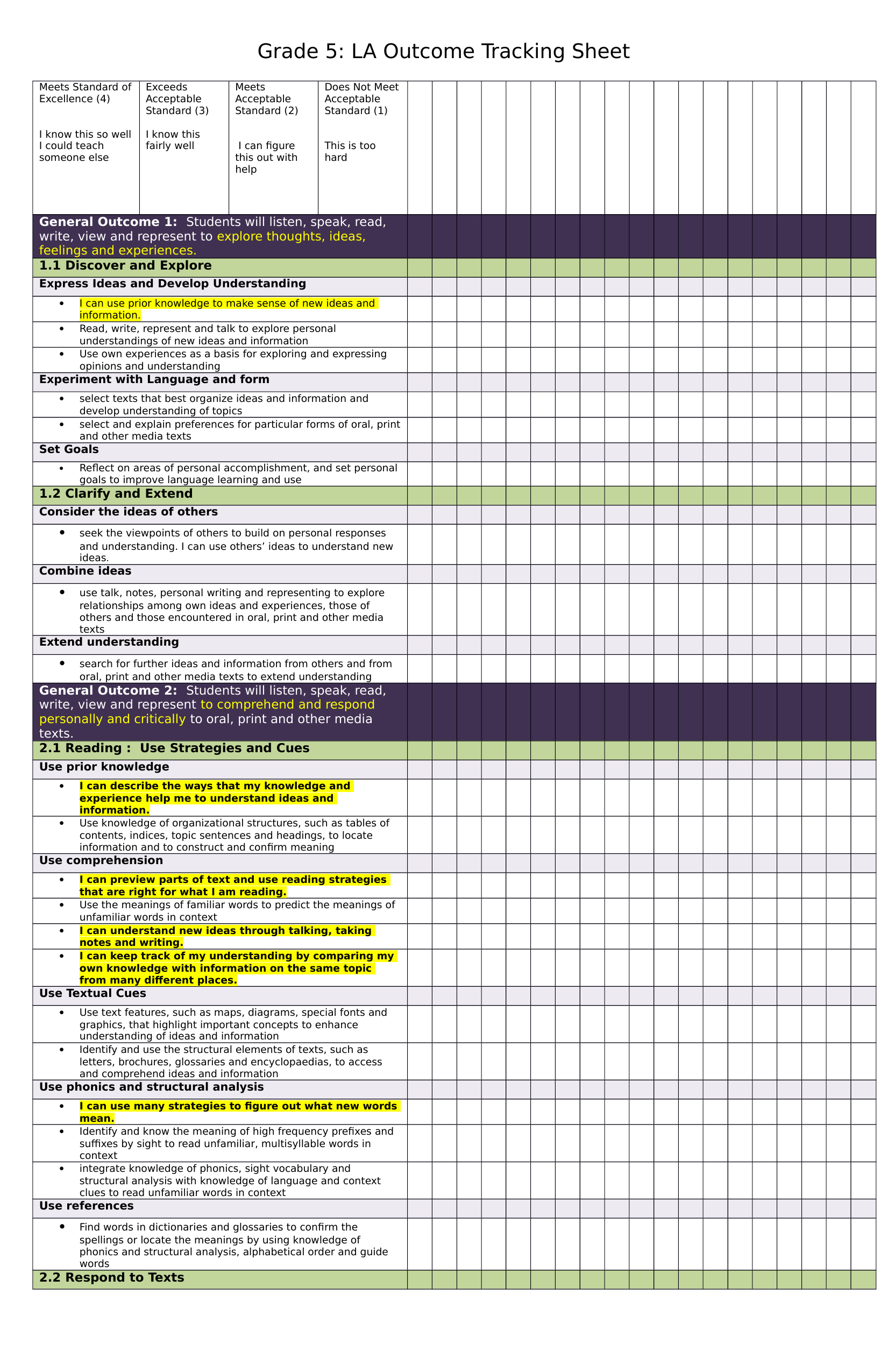 G5 outcome tracking sheet Resource Preview