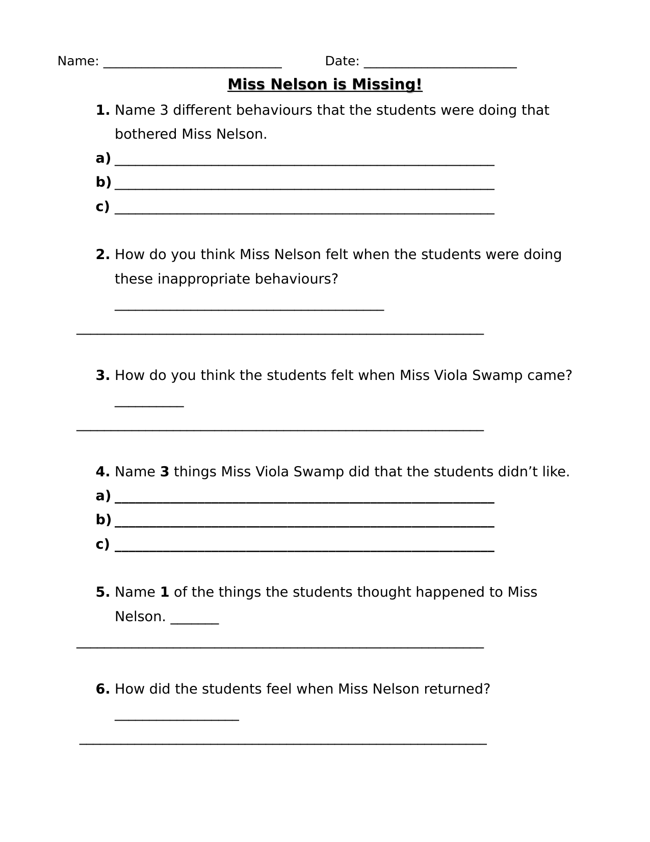 Miss Nelson is Missing Questions Resource Preview