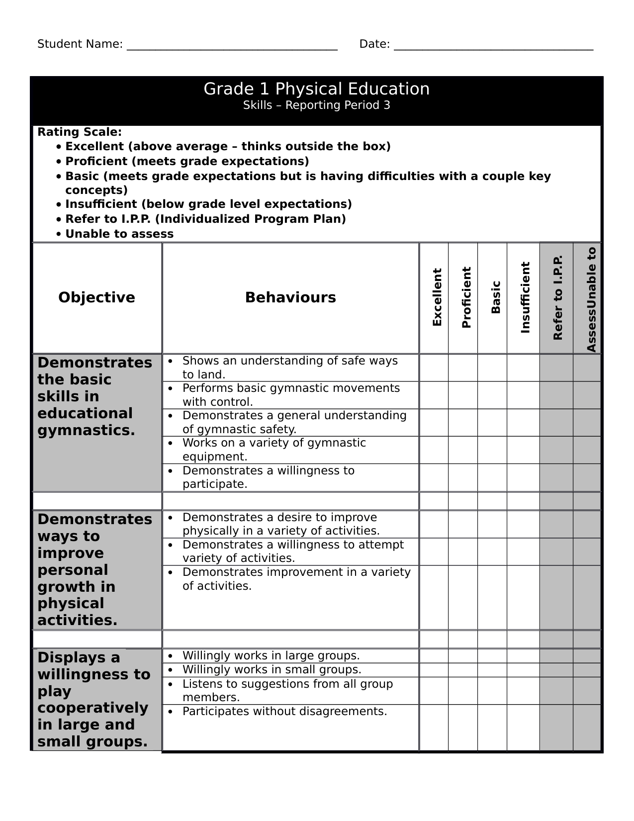Gr 1 PE Checklist 3 Resource Preview