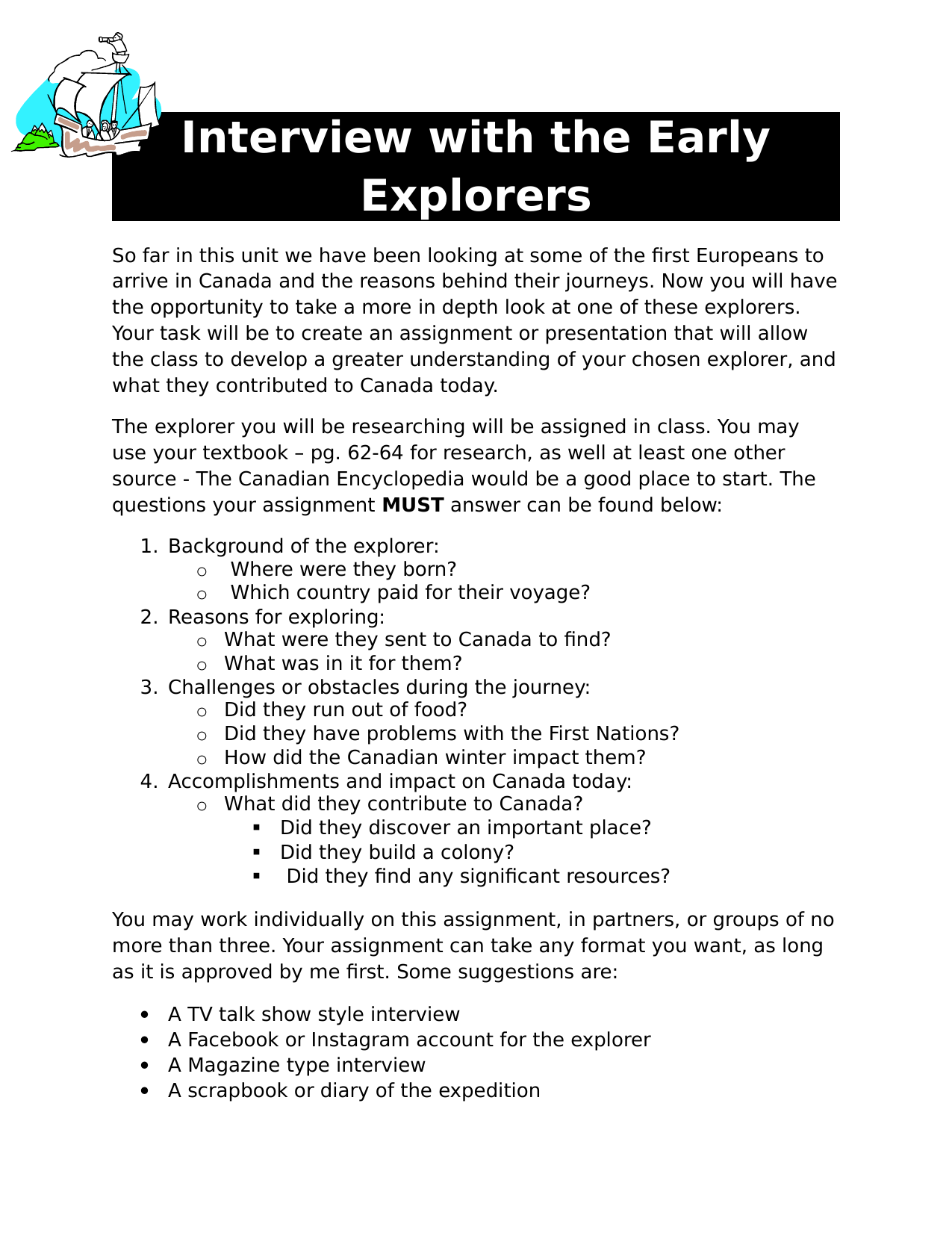 Interview with the Early Explorers Assignment Resource Preview