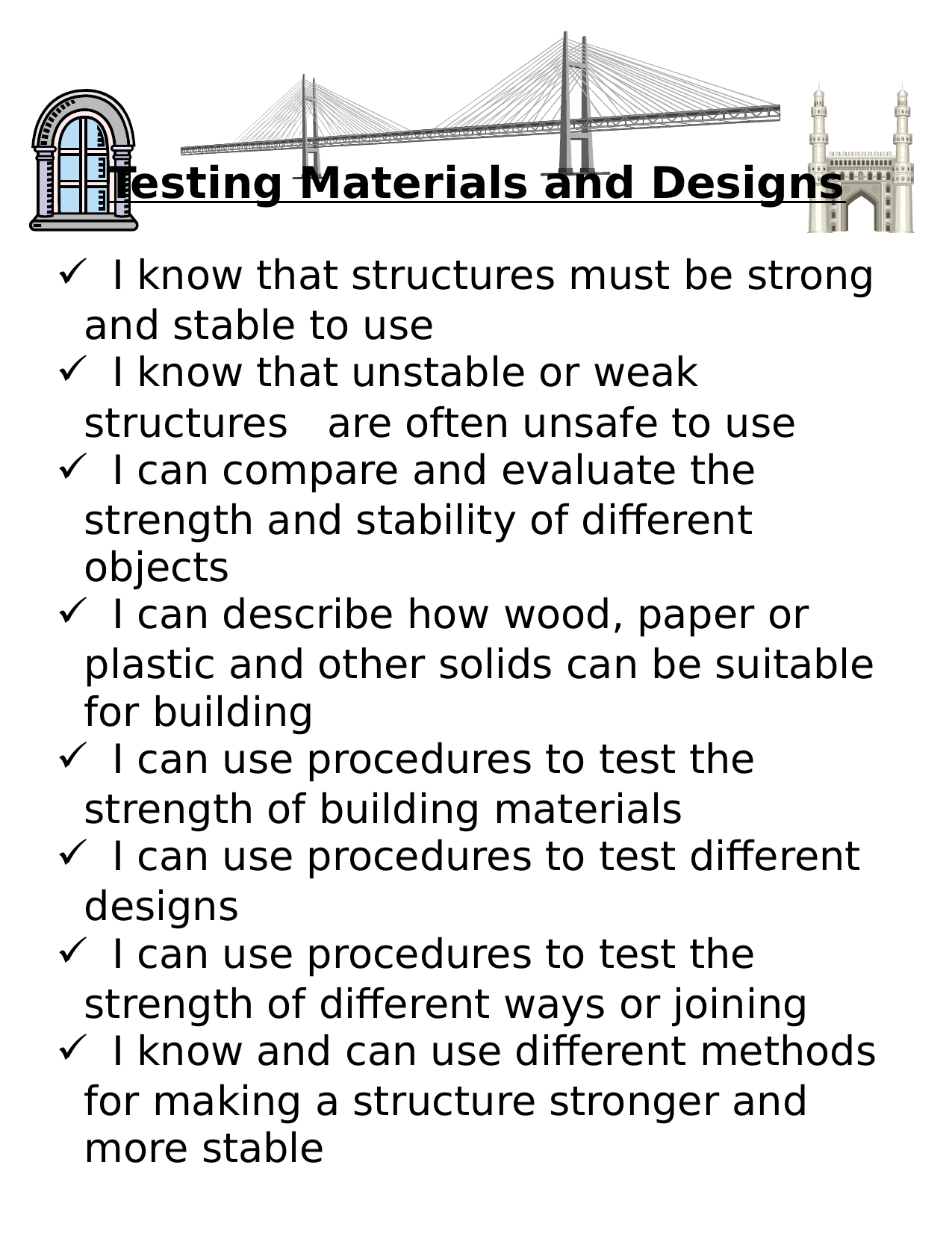 Testing Materials and Designs I CAN Statements Resource Preview