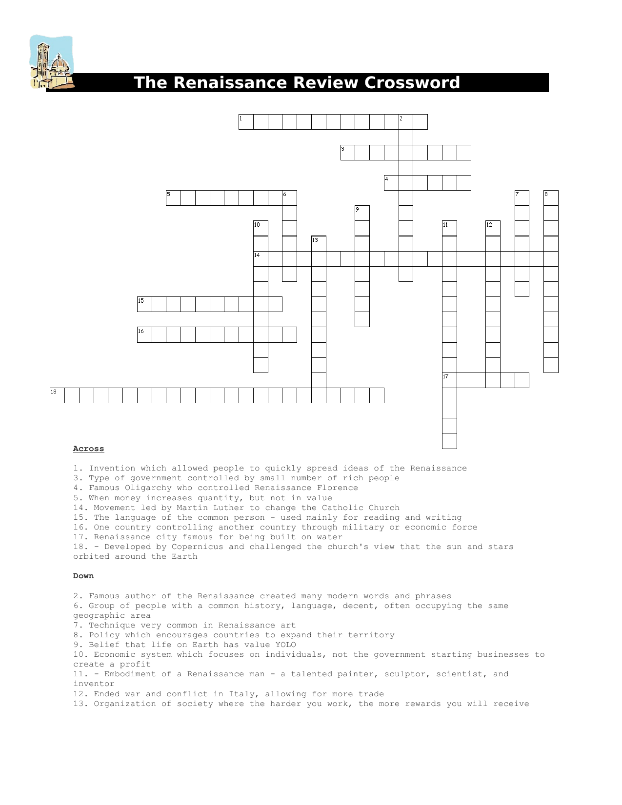 The Renaissance Review Crossword Resource Preview
