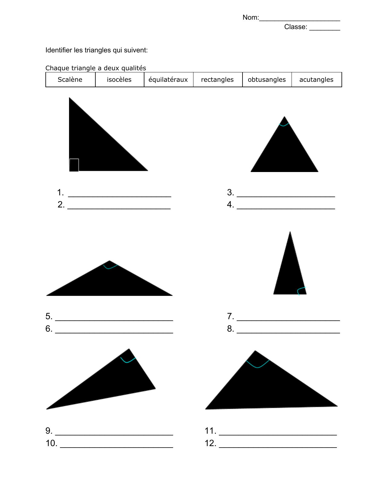 Triangle Identification quiz FR Resource Preview