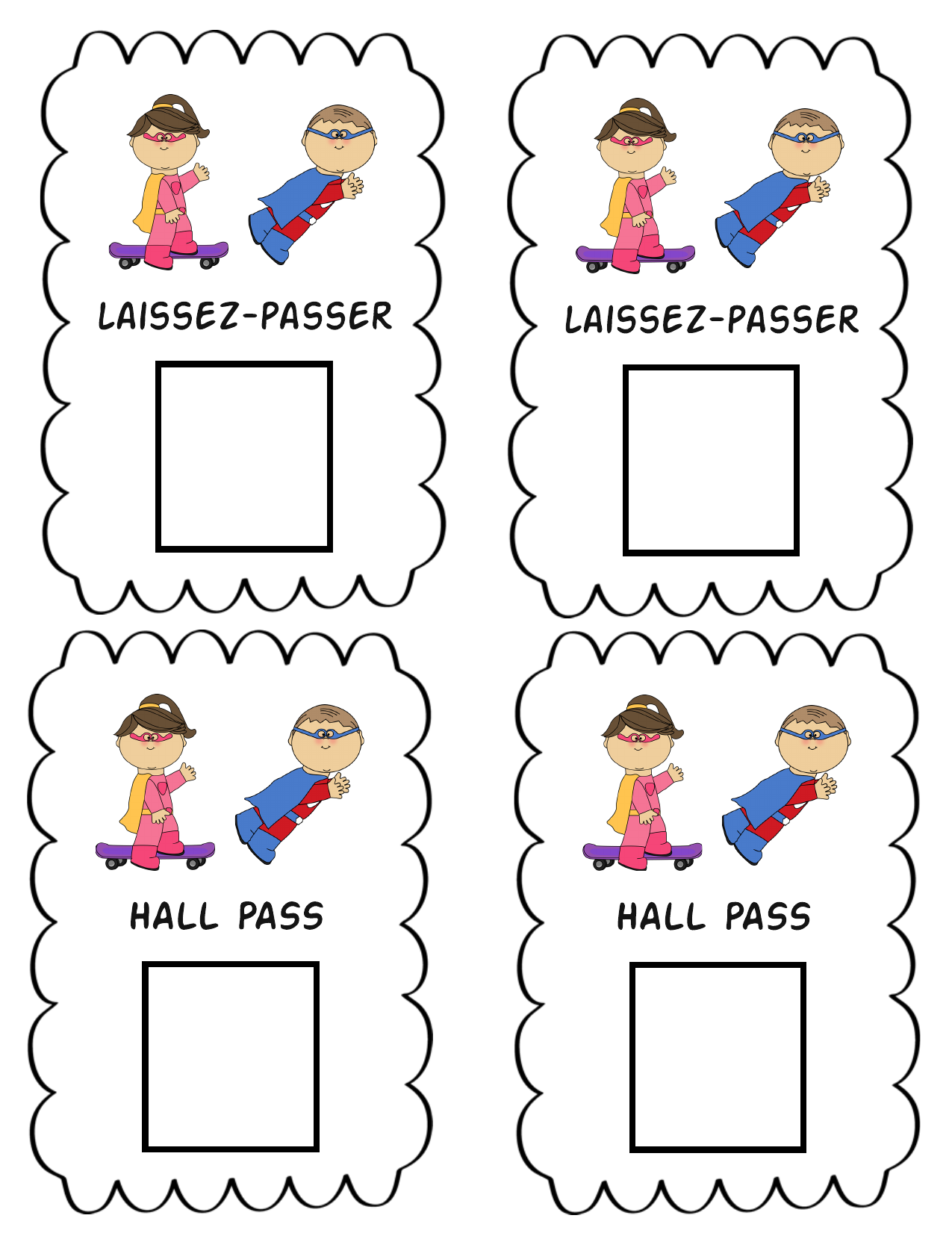 Hall Pass French and English Resource Preview
