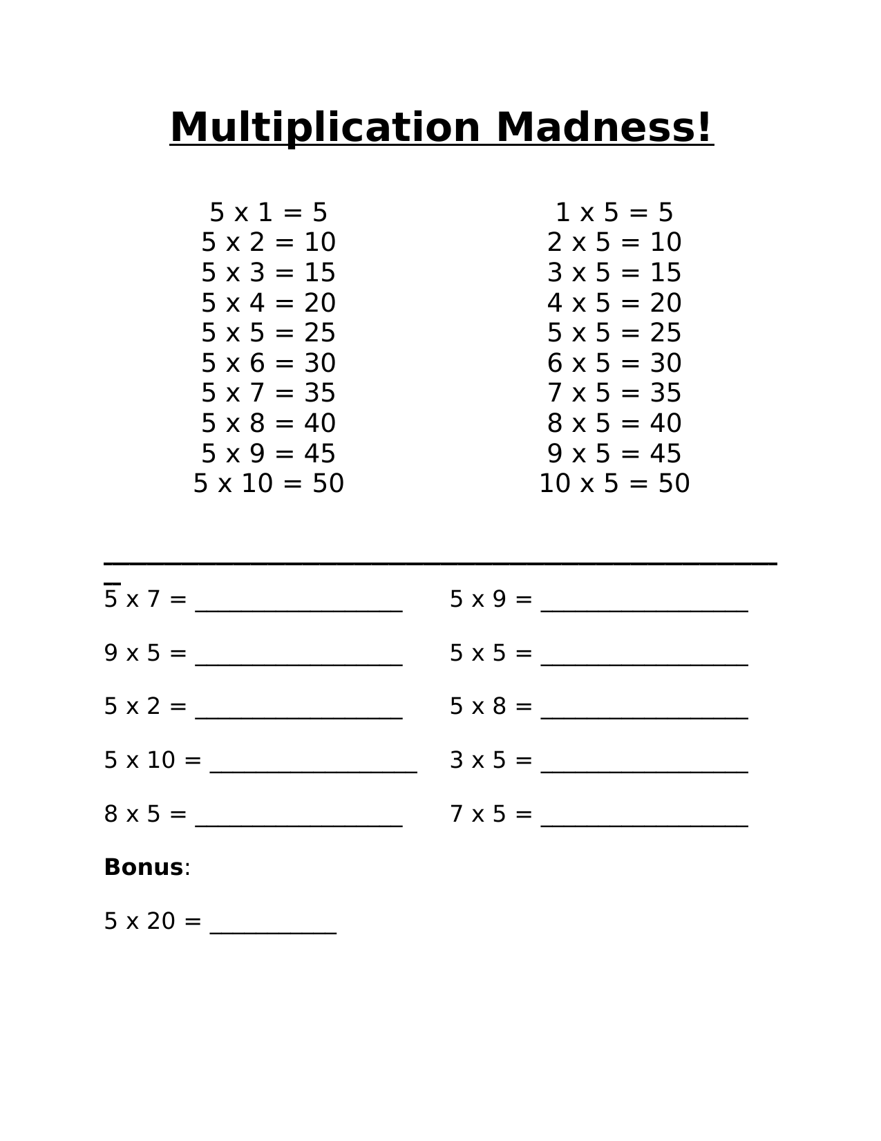 Multiplication Madness 5 Resource Preview
