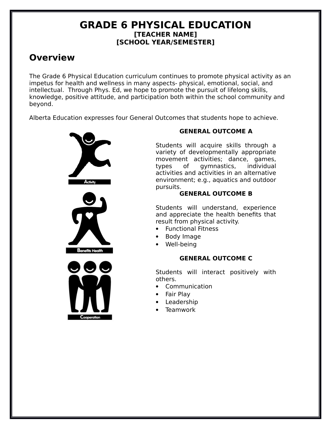 Physical Education Year or Semester Course Outline Resource Preview