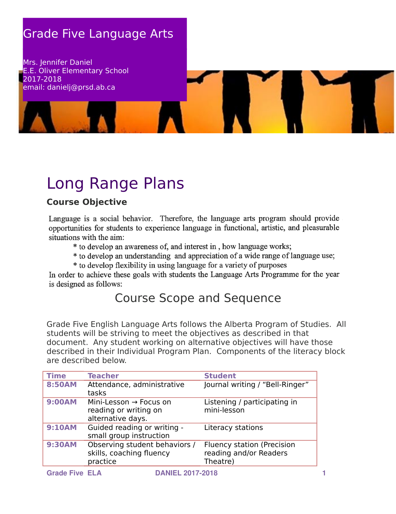 Grade 5 ELA Long Range Plans Resource Preview