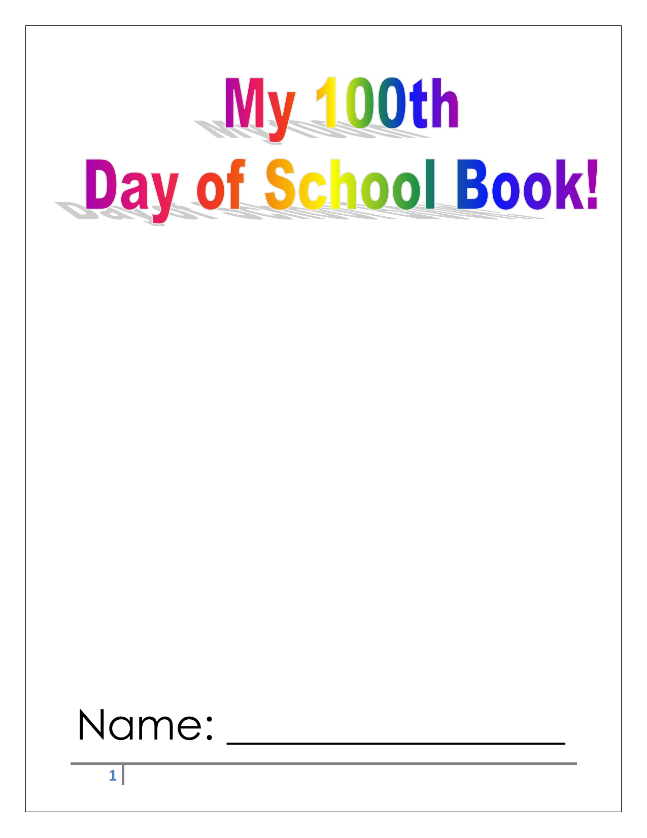 100th Day of School Book Resource Preview