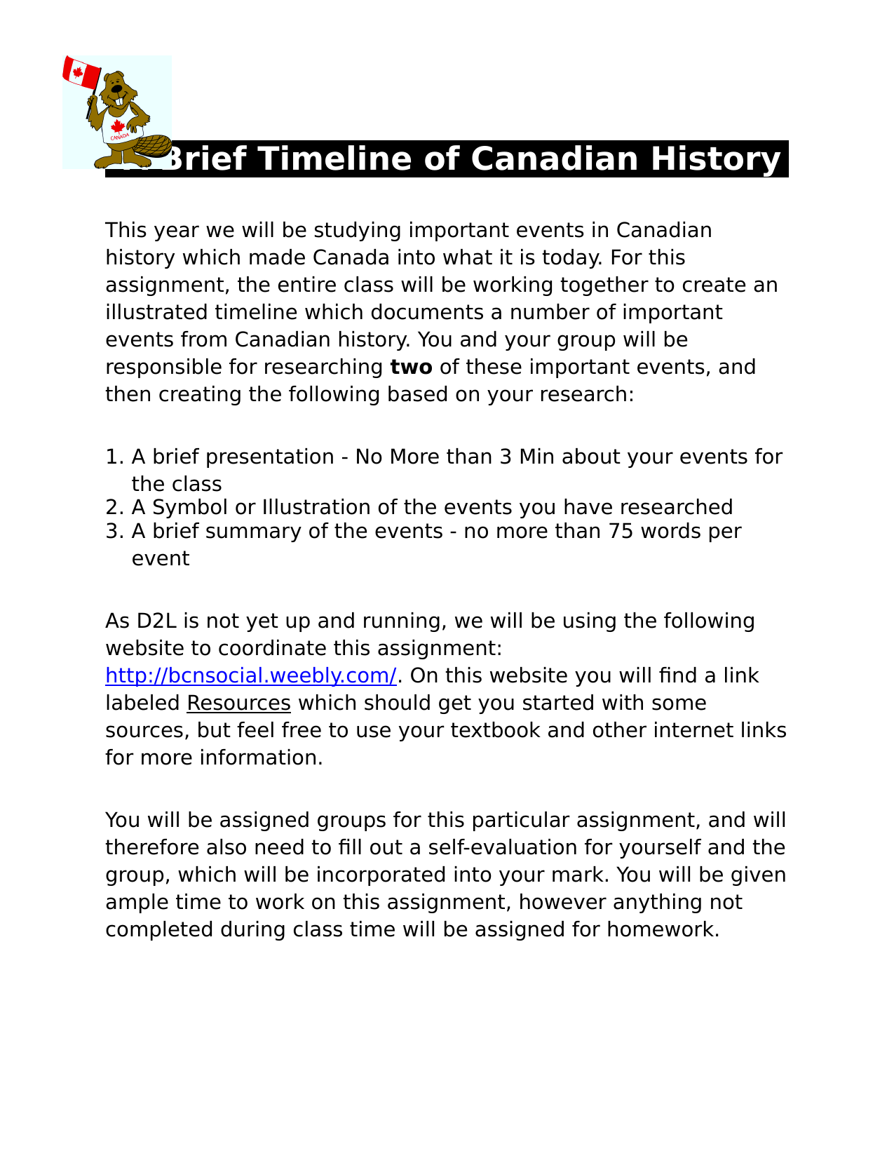 Historical Timeline Assignment Resource Preview