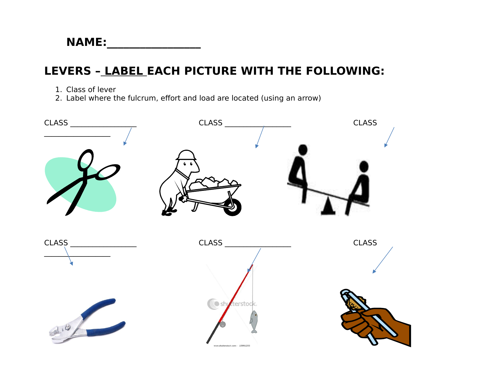 Levers Worksheet Resource Preview