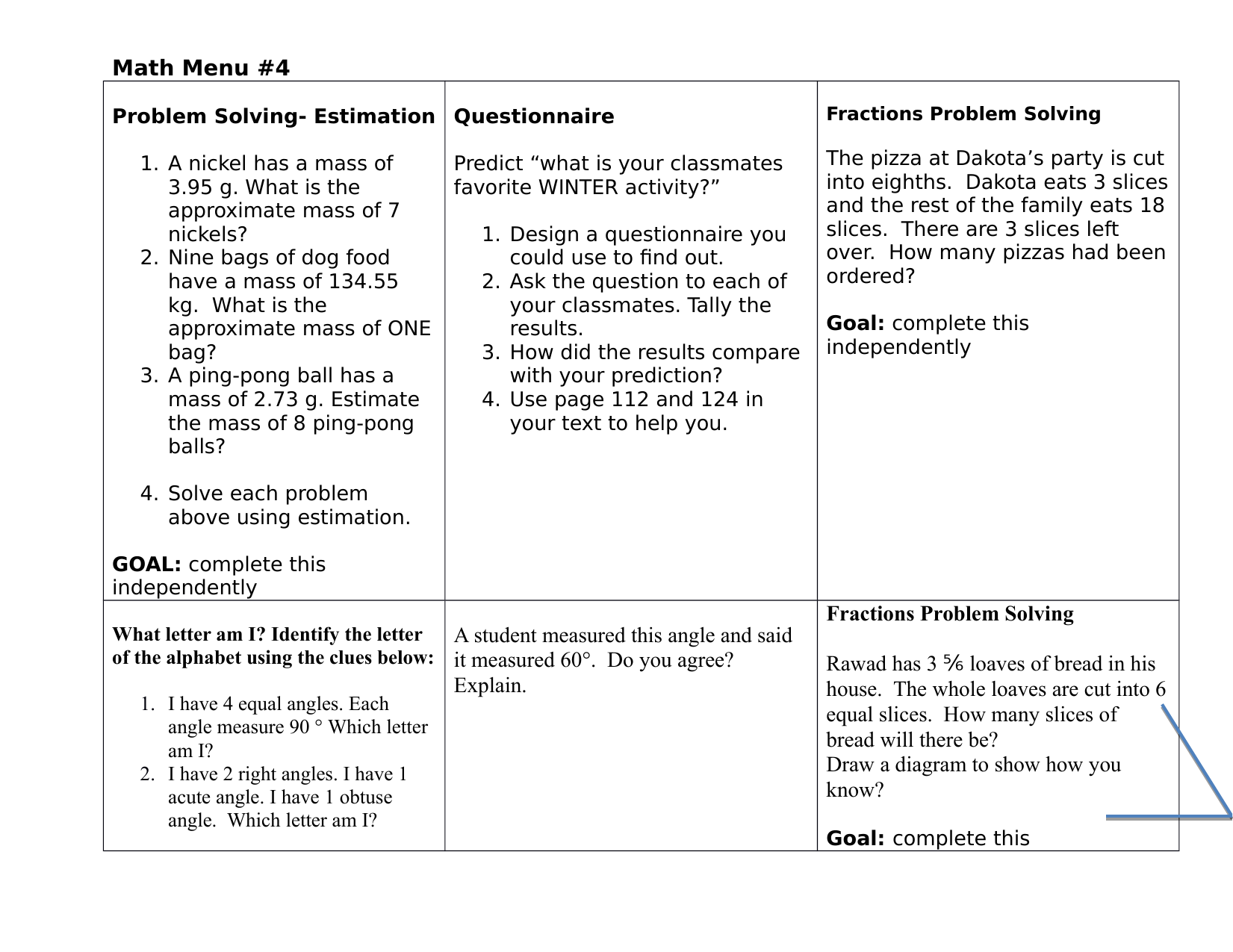 Grade 6 Math Choice Board Resource Preview