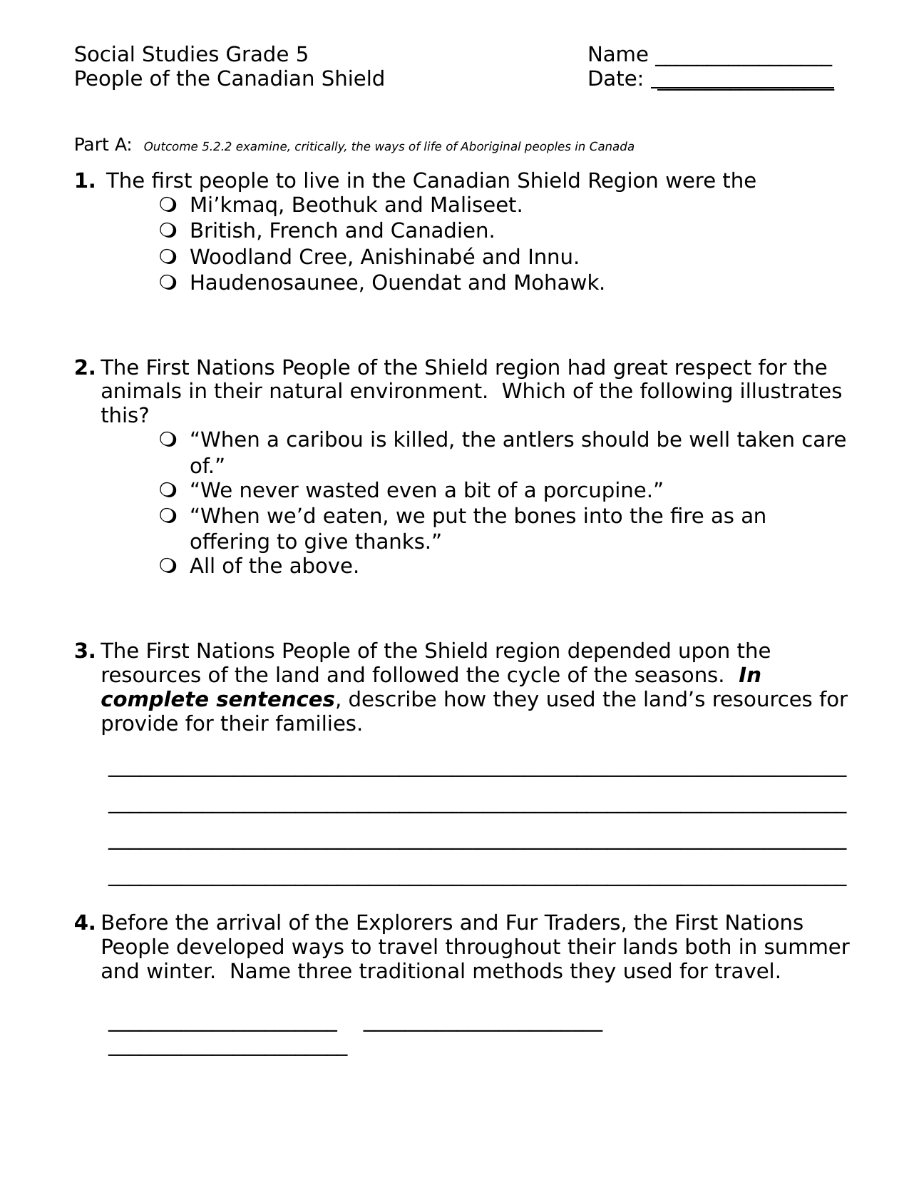 People of the Canadian Shield Test Resource Preview
