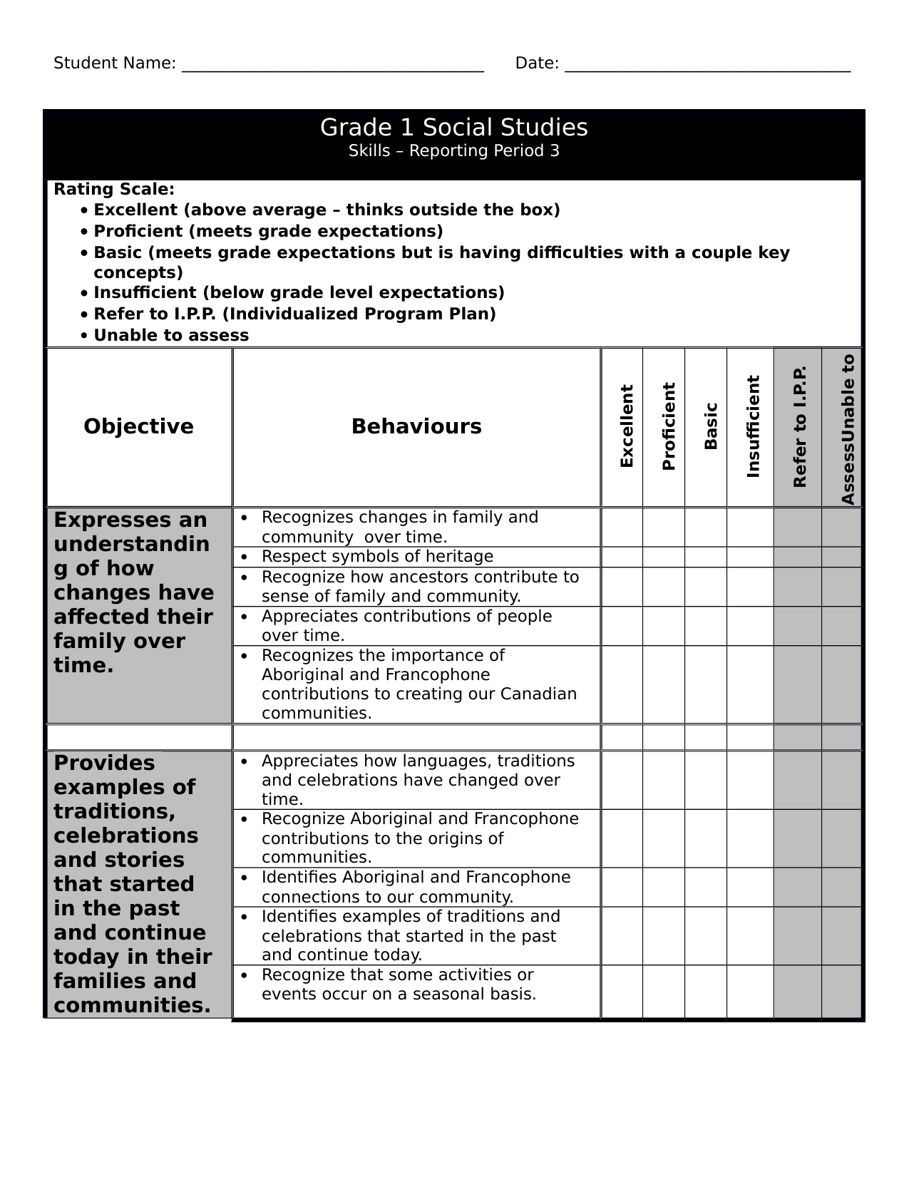 Gr 1 Social Checklist 3 Resource Preview