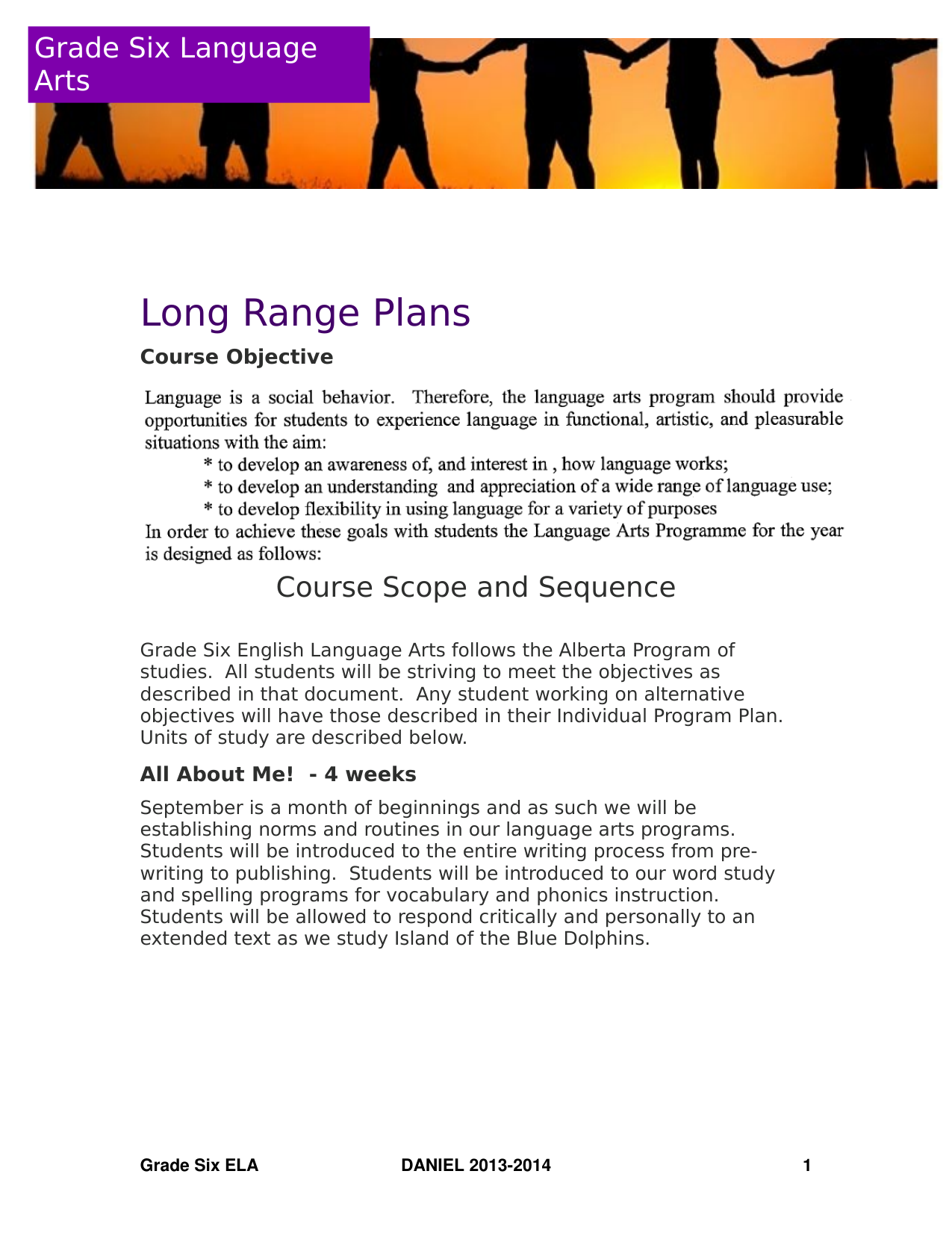 Grade 6 ELA Long Range Plans Resource Preview