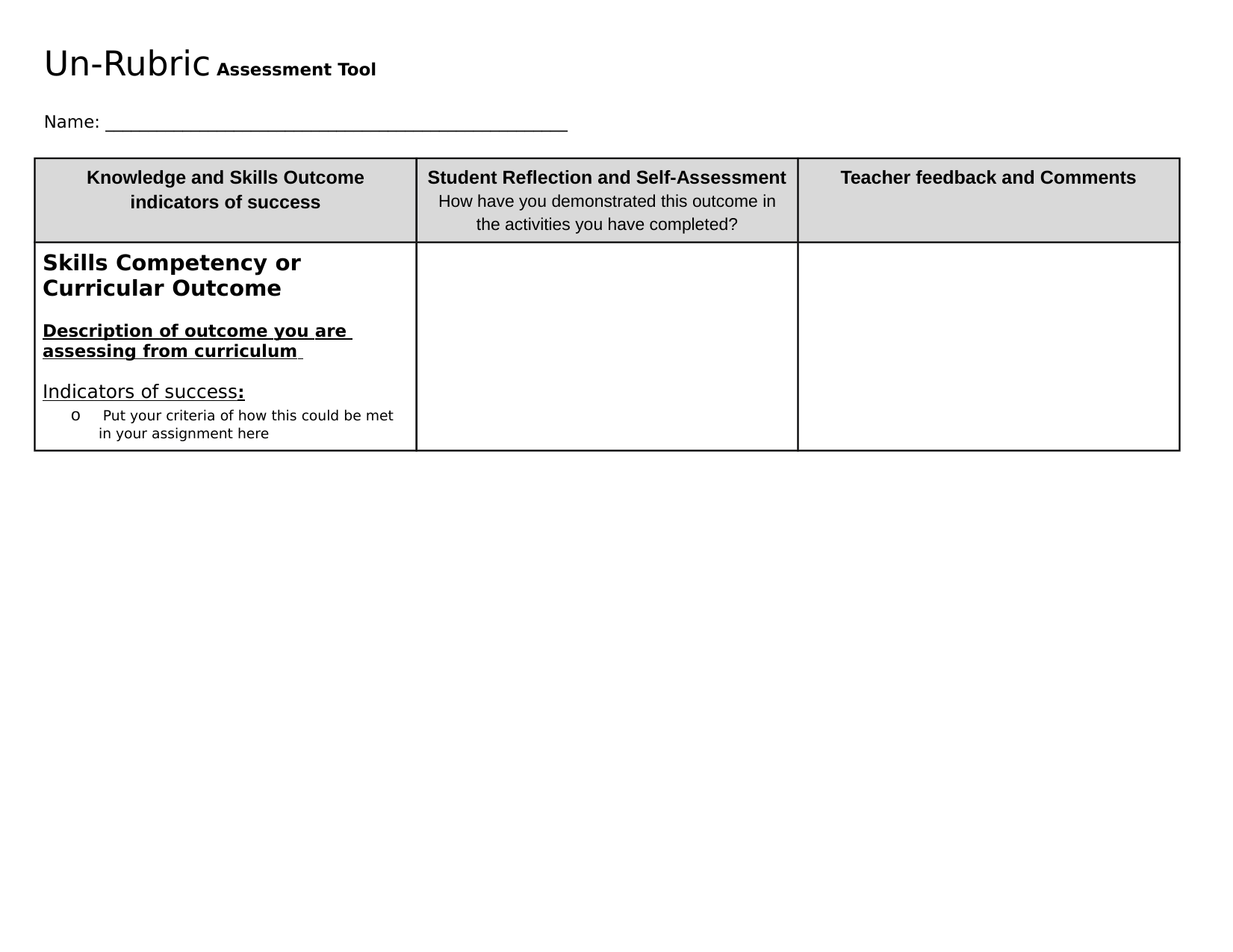 UnRubric assessment Tool Resource Preview