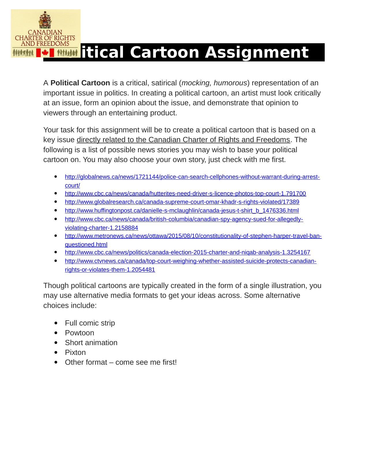 Political Cartoon Assignment  Charter Resource Preview