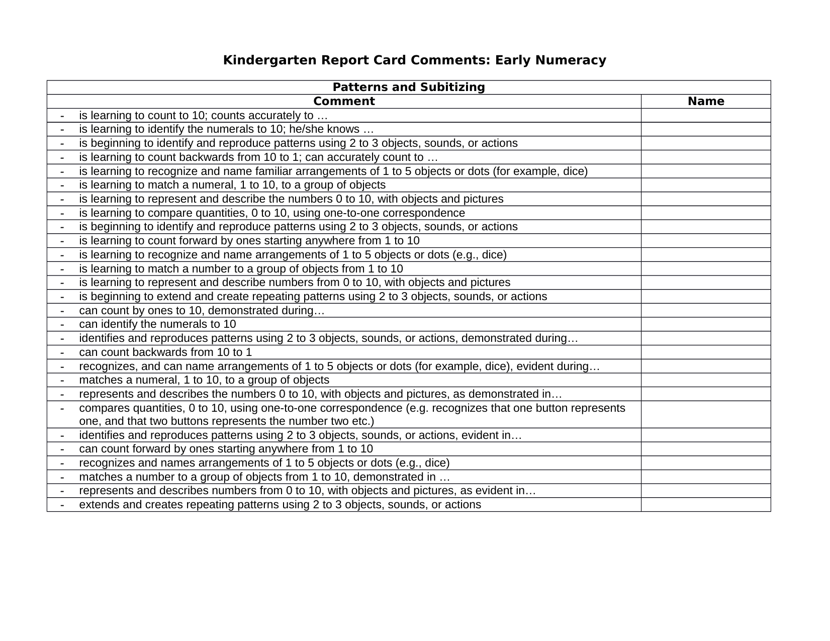 KG Report Card Comments for Math Resource Preview