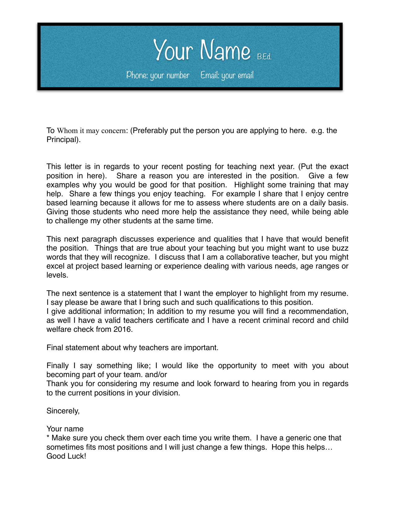 Resume Cover Letter Resource Preview