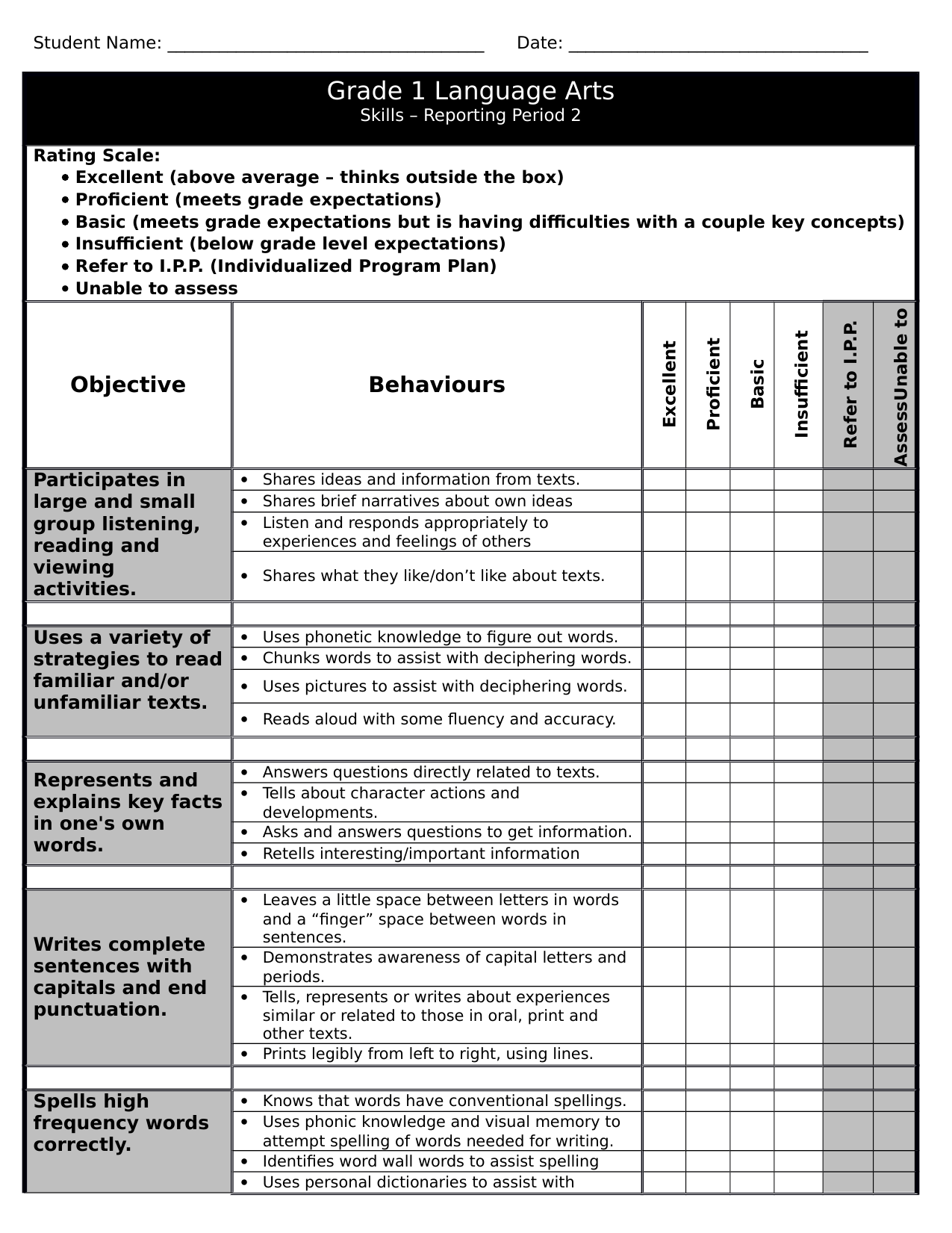 Gr 1 LA Checklist 2 Resource Preview