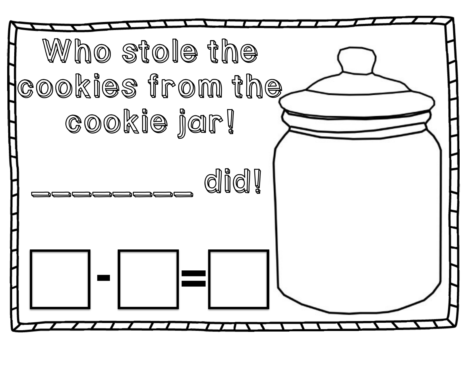 Who Stole The Cookie Subtraction Resource Preview
