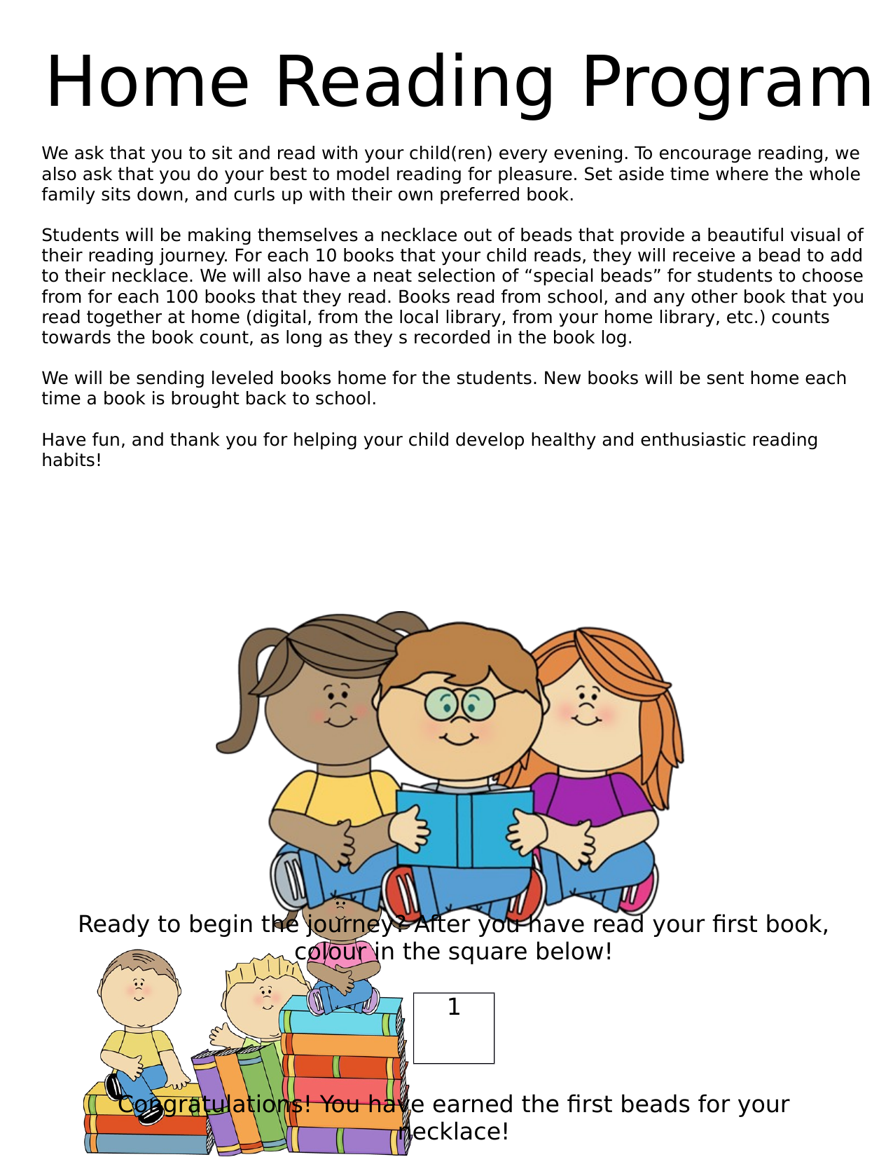 Books and Beads Home Reading Program Resource Preview