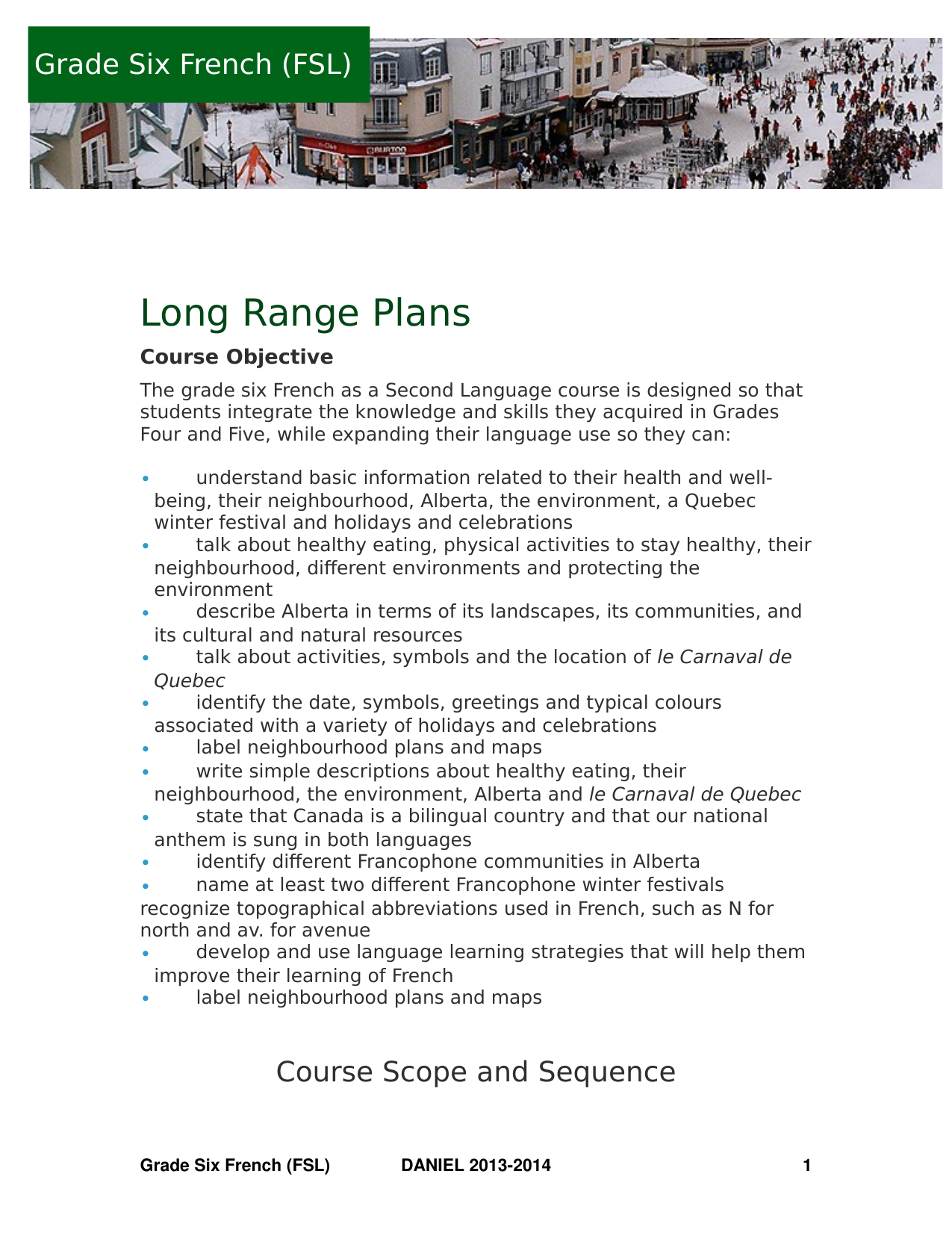 Grade 6 FSL Long Range Plans Resource Preview