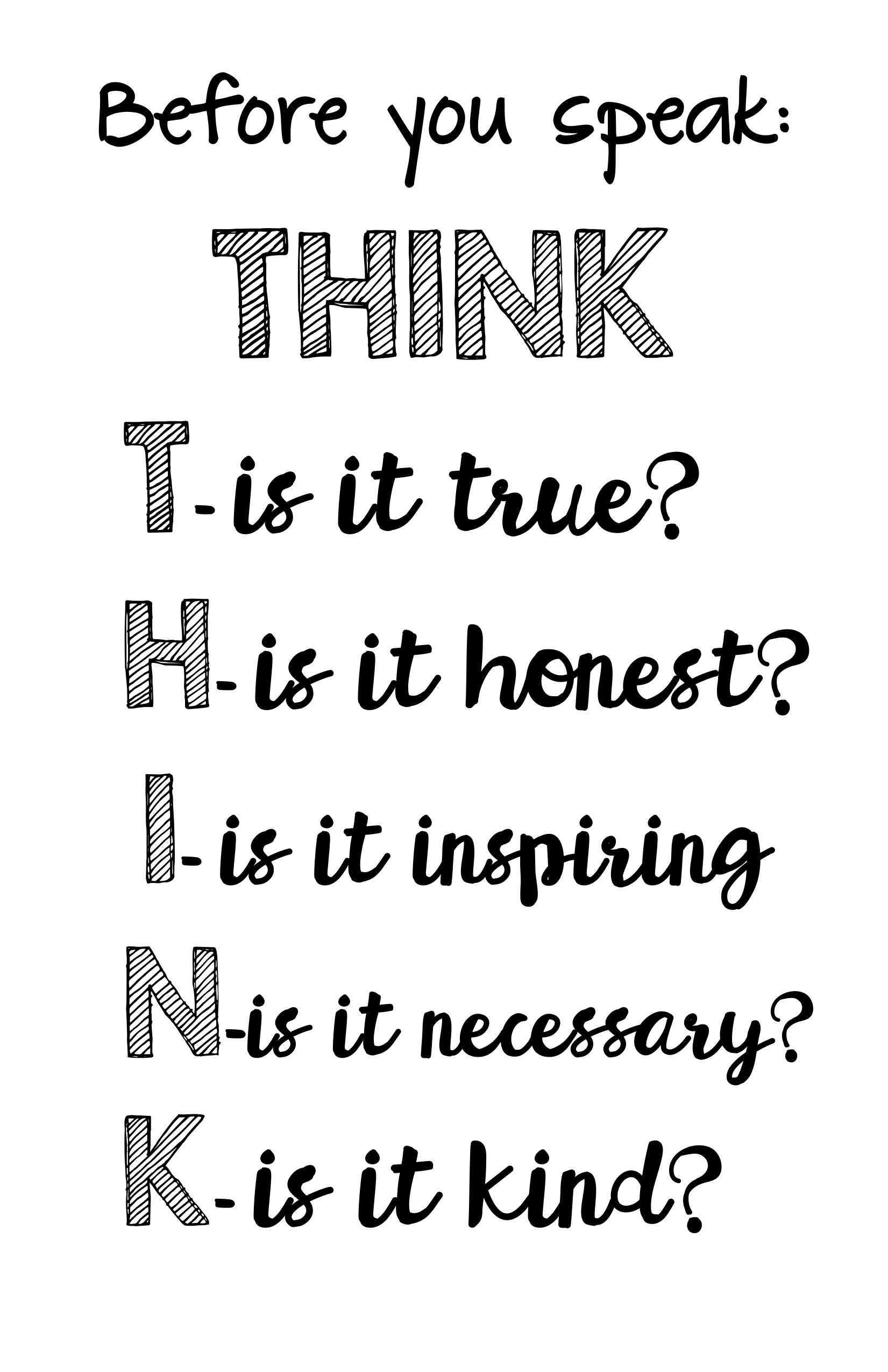 THINK before you speak poster  Resource Preview