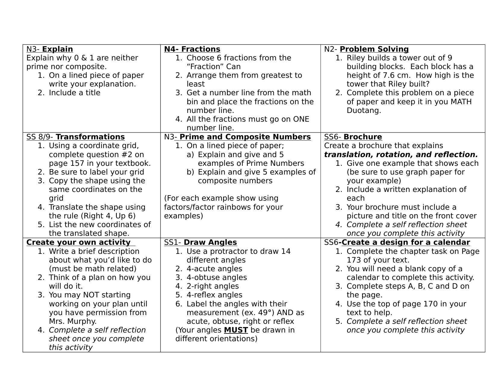 Grade 6 Math Choice Menu Resource Preview